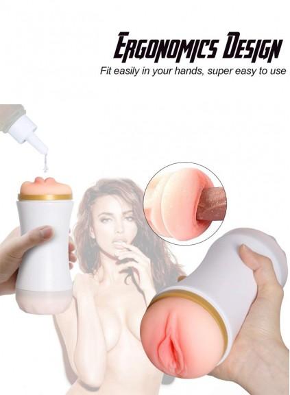 double sided fleshlight realistic dual sextoy male masturbators blowjob toys life size vagina